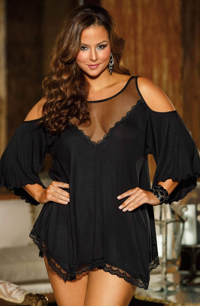 X3257 Sleepshirt in Black by Shirley of Hollywood - Shirley of Hollywood - Katys Boutique Lingerie USA