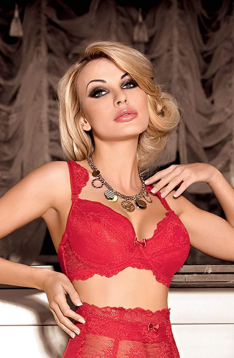 Ambre Push Up Bra In Red by Roza - Roza - Katys Boutique Lingerie USA