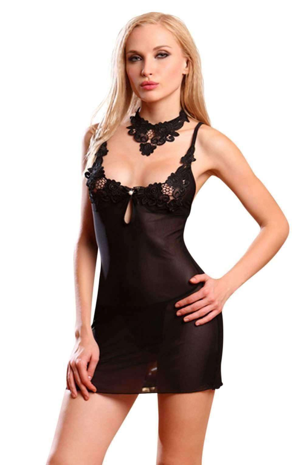 YX698 Babydoll in Black by YesX - YesX - Katys Boutique Lingerie USA