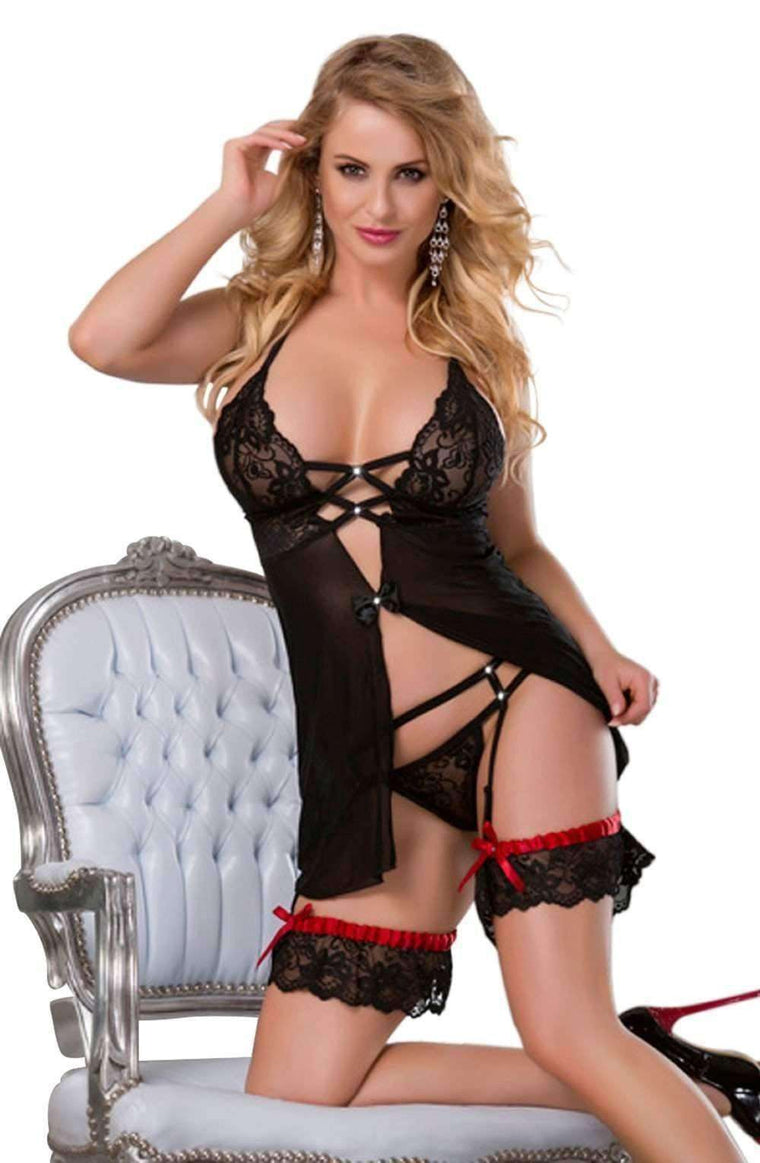 YX699 Nightdress in Black/Red by YesX - YesX - Katys Boutique Lingerie USA