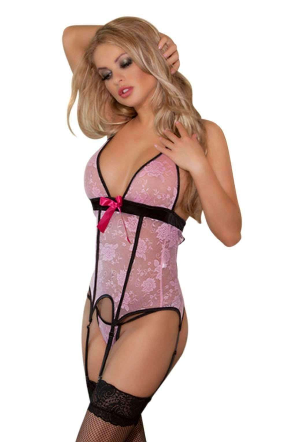 YX909 Corset Set in Pink/Rose by YesX - YesX - Katys Boutique Lingerie USA