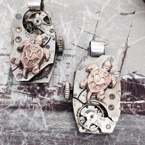 Vintage Watch Movement Necklace with Sea Turtle Charm