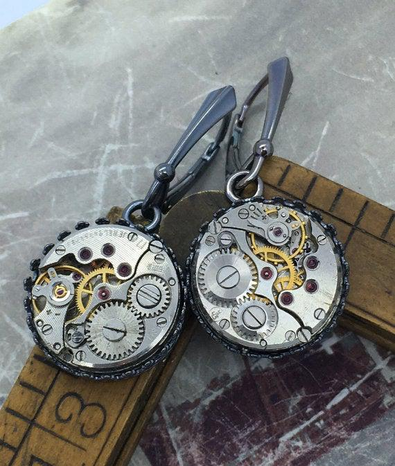 Sterling Silver Vintage Watch Movement Earrings on Lever Backs