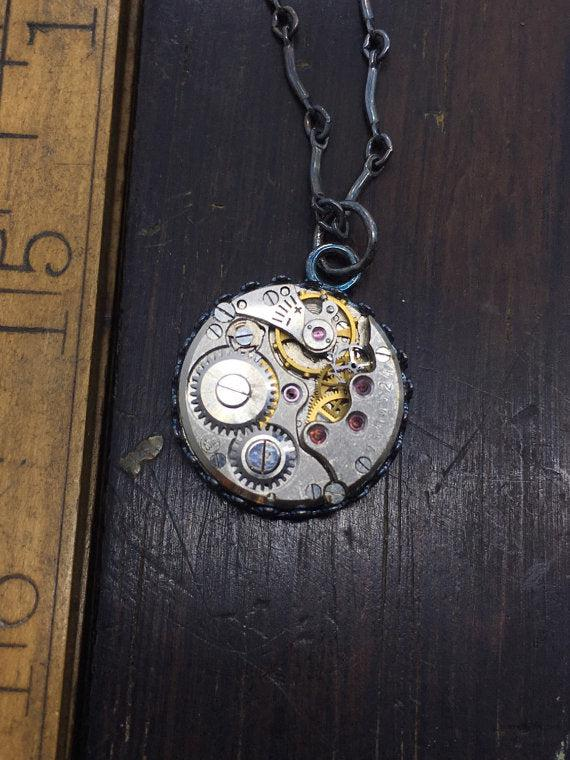 Sterling Silver Round Vintage Watch Movement Necklace