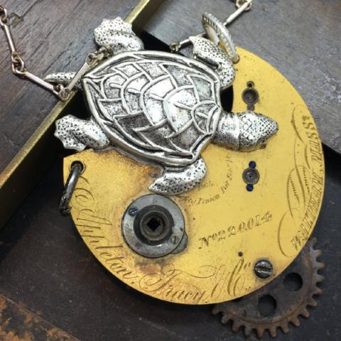Antique Pocket Watch Sea Turtle Necklace