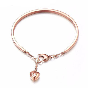 Personalized Rose Gold Bracelet With Crystal Heart Gift For Her,,[tags] - DeliteShopping
