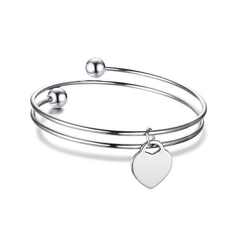 Silver Heart Shape ID Bracelet Personalized Gift For Women,,[tags] - DeliteShopping