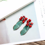 Handmade Green Feather & Red Beans Vintage Women Dangle Earrings,,[tags] - DeliteShopping