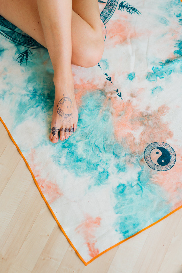 Yin Yang Mandala Art Yoga/ Travel / Beach Towel | Batikarma Limited Edition Towels from recycled materials