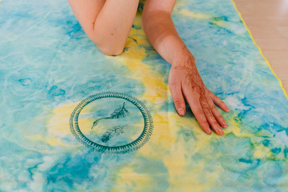 sunshine bohemian tie-dye yoga, travel, beach towel made from recycled materials, soft touch and small packable