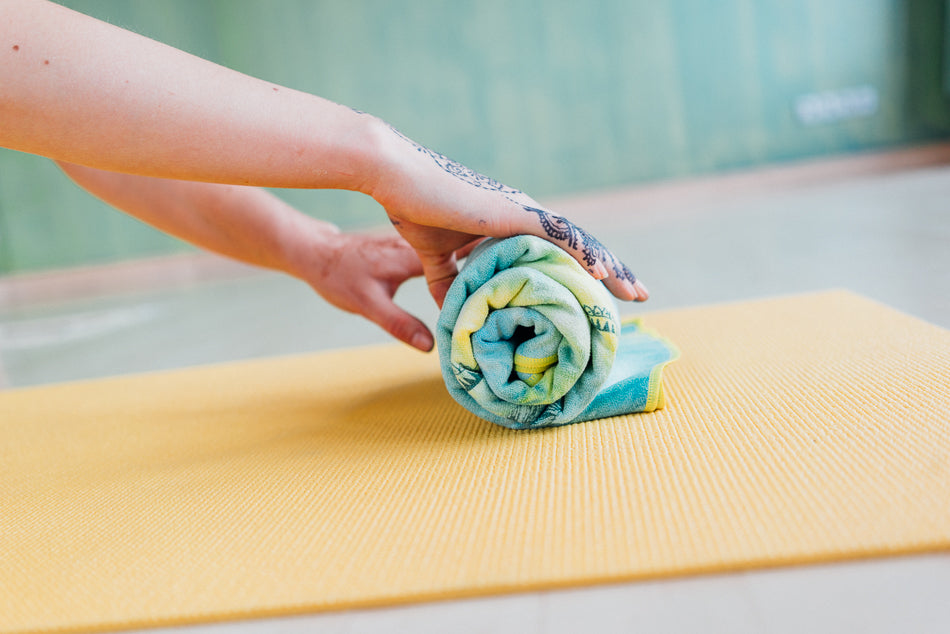 cute eco friendly  tie-dye yoga, travel, beach towel made from recycled materials, soft touch and small packable