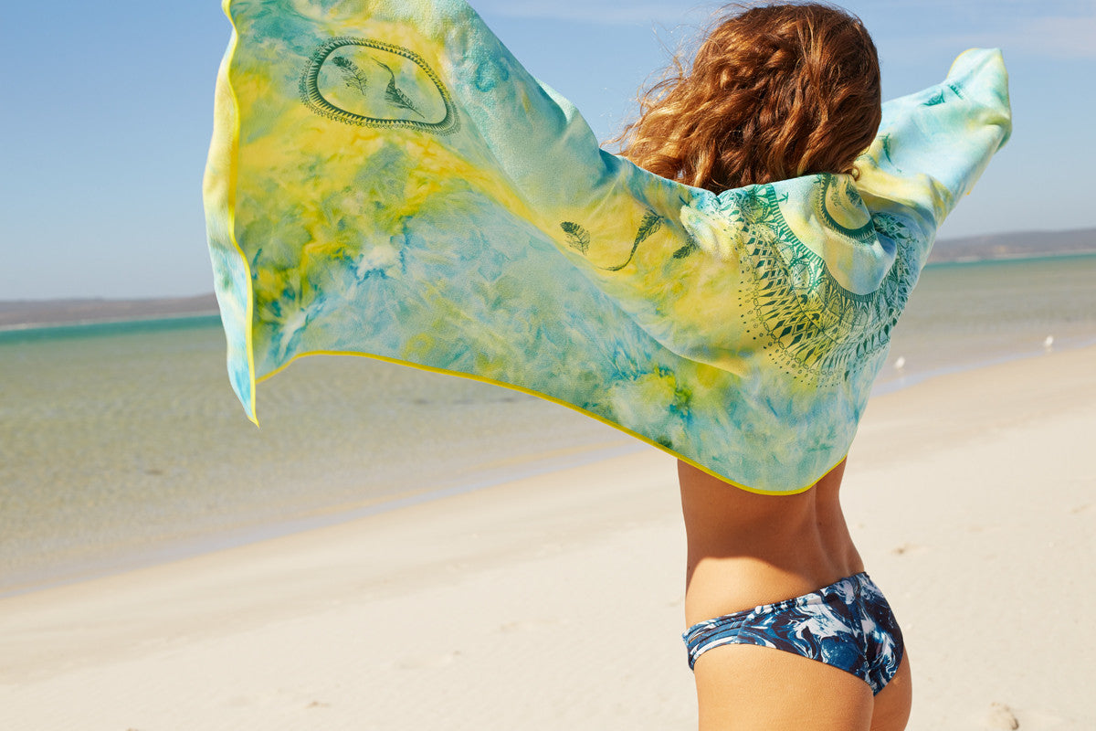 bohemian recycled beach,travel and yoga towel made from recycled materials