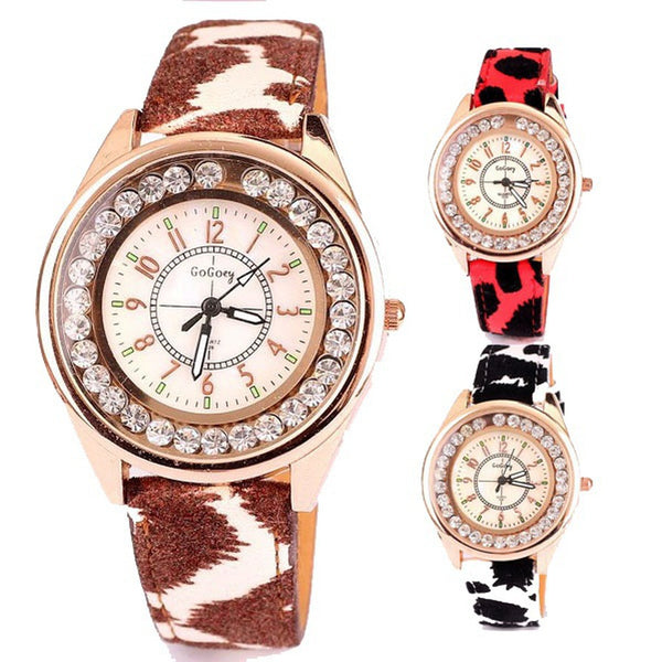 Original Brand GoGoey Women Leopard Watches With Rhinestone PU Leather Band Ladies Quartz Analog Watch Fashion Relojes Mujer
