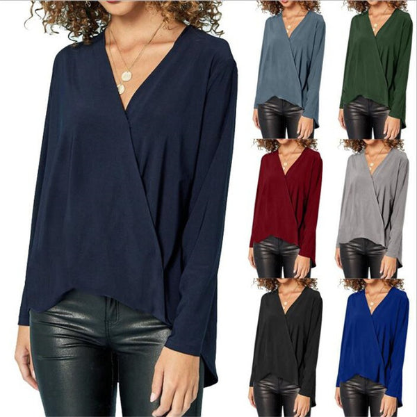 7 Colors Women Sexy V-neck Long Sleeve Pure Color Large Size Chiffon Shirts