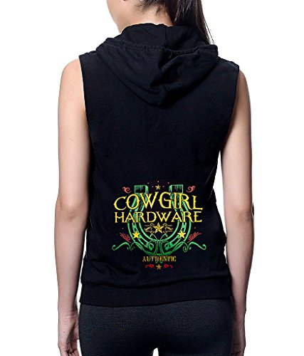 Interstate Apparel Junior's Authentic Cowgirl Hardware Black Sleeveless Fleece Zipper Hoodie