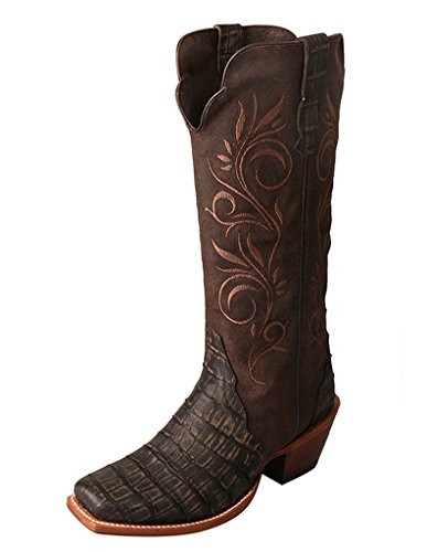 Twisted X Women's Rancher Boot, Color Croco Negro/Congo Dark Chocolate (Wral005