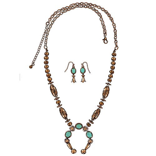Blazin Roxx Women's Oval Beaded Horseshoe Jewelry Set