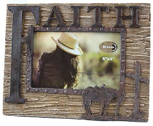 Western style FAITH picture frame with cross and bowing horse