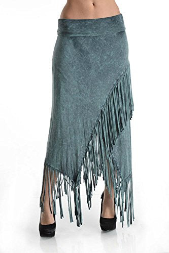 T Party Fringe Maxi Skirt Sage Cross Over Wrap Dress Mineral Washed Cotton Blend