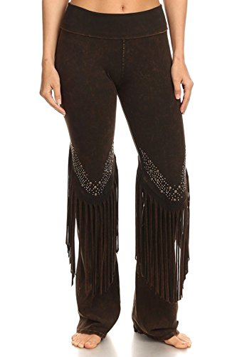 T Party Womens Stone Design Fringe Detail Yoga Pants