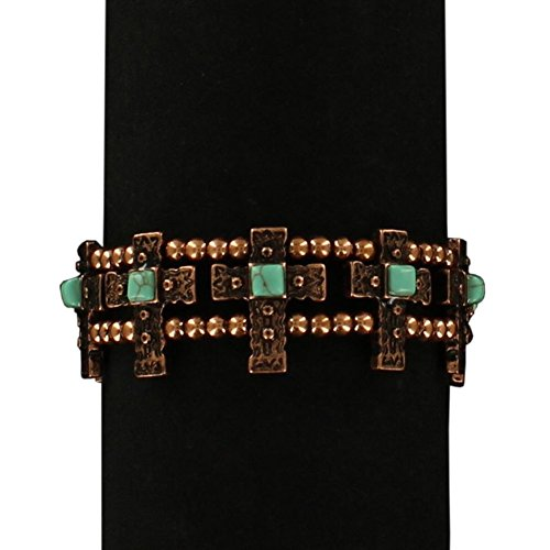 Blazin Roxx Women's Stretch Copper Cross Bracelet