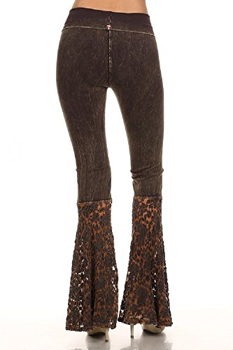 T Party Brown or Black Lace Bell Bottom Pants Cotton Blend Fold Waist Mineral Washed S M L (Small, Black)