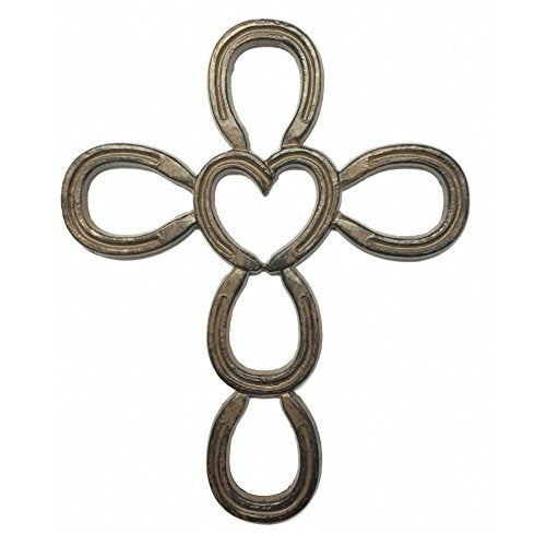 Cast Iron Cross in Horseshoe Heart