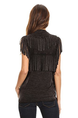 T Party Womens Solid, Waist Length Vest in A Loose Fit,Open Front,Fringe