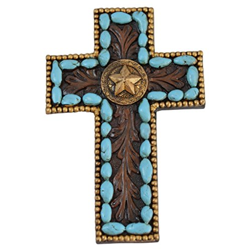 Pine Ridge Turquoise Pebble Wall Magnetic Cross by Light Weight Polyresin Made Blue Hanging Cross with Star Centerpiece Decorative Home Decor