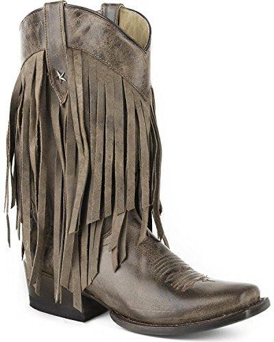 Roper Women's Tall Fringe Western Boot Square Toe - 09-021-7124-1407 Br