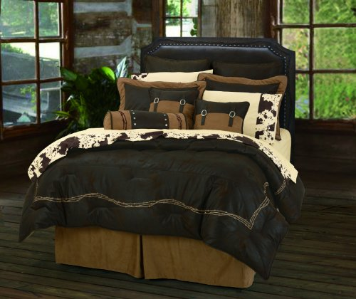 HiEnd Accents Embroidered Barbwire Western Comforter Set, King, Chocolate