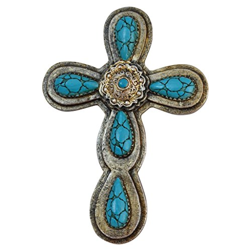 "Pine Ridge 9"" Turquoise Magnetic Cross - Christian Layered Crucifix Religious Home Decor - Stick on Fridge or Anything Metal"