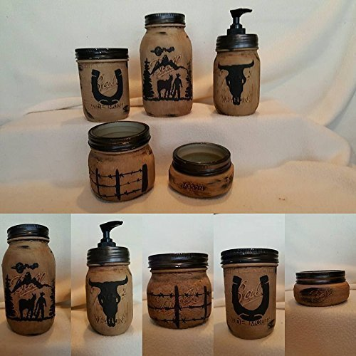 Western Mason Jar Bathroom Set
