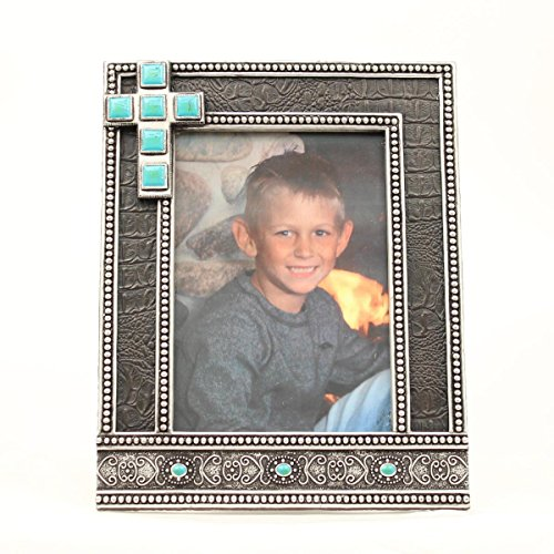 MF Western Products Black Croc With Turquoise Cross Frame 5x7