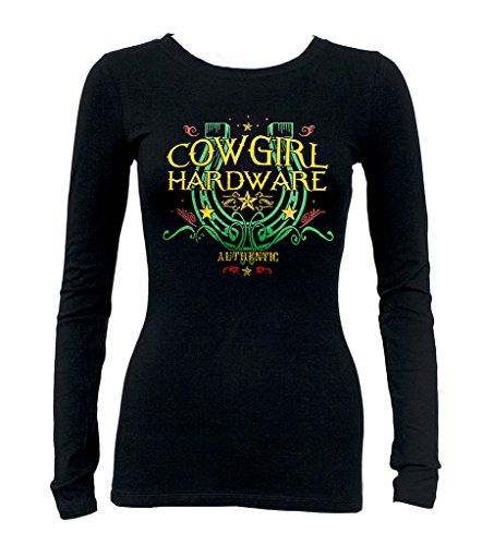 Junior's Authentic Cowgirl Hardware Tee Black Long Sleeve T-Shirt Black