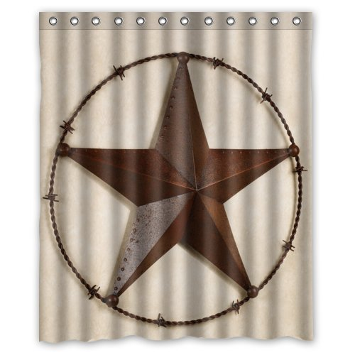 60(W)x72(H)-Inch Waterproof Bathroom Western Texas Star Shower Curtain