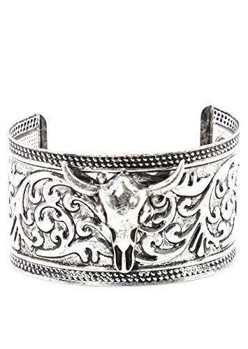 Steer Skull Cuff Bracelet Silver Tone BD36 Southwestern Bangle Fashion Jewelry