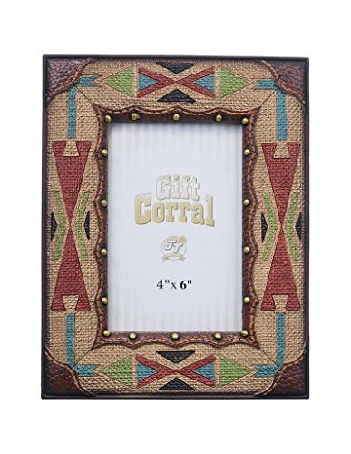 "Tough-1 Western Photo Frame Aztec Pattern 4"" x 6"" Multi-Color 87-2167"
