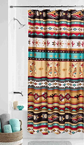 Southwest KOKOPELLI Fabric Shower Curtain Southwestern Aztec Bath Decor