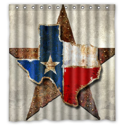 Shower Curtain Waterproof Bath Curtain Tropical Western Texas Star/Texas Star Map Home decor Bathroom PEVA Fabric 66(w) x72(h) Inch