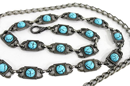TFJ Women's Fashion Metal Belt Hip Waist Chains Turquoise Blue Beads Xs S M Silver