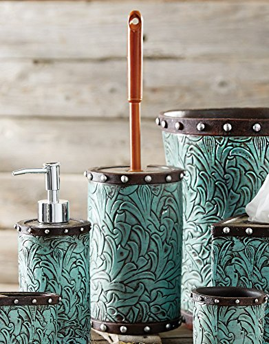 Black Forest Decor Tooled Turquoise Flowers Toilet Brush Holder