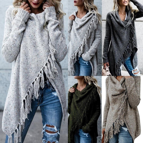 Womens Knitted Long Sleeve Jumper Sweater Cardigan Ladies Fringe Shawl Tops Coat Tassel Coat