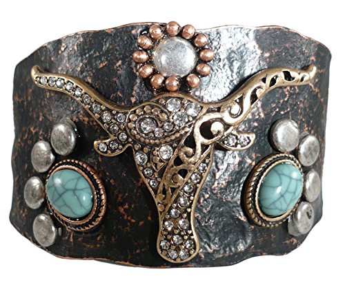 For Love of Country Wide Brown Cow Skull Cuff Bracelet