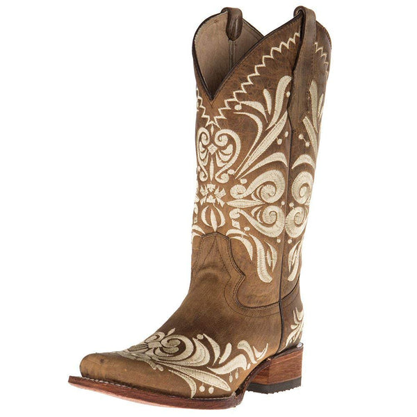 Circle G Womens Ladies Tan Embroided Square Toe Boots