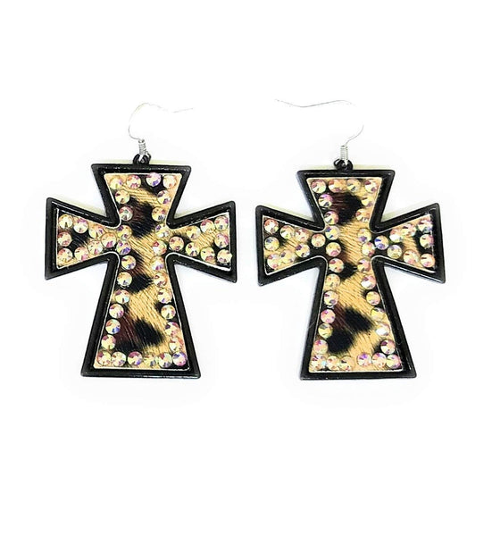 Jp Leather Metal Multi Color AB Bling Rhinestone Western Cowgirl Fish Hook Earrings