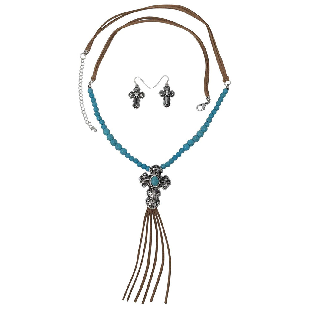 Long Faux Suede Tassel Fringe Western Style Necklace & Earrings Set - Assorted Styles