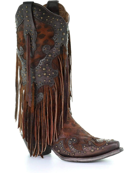 CORRAL Women's Leopard Stud and Fringe Cowgirl Boot Snip Toe - A3618