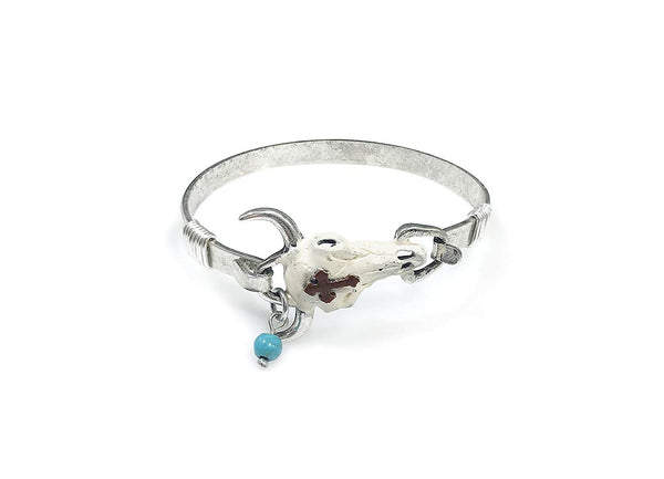 Steer Head Skull with Classic Cross Western Vintage Bangle Bracelet with Bead
