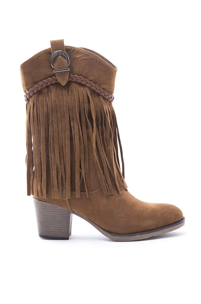 Soho Shoes Women's Cowboy Western Suede Fringe Chunky Heel Ankle Boots